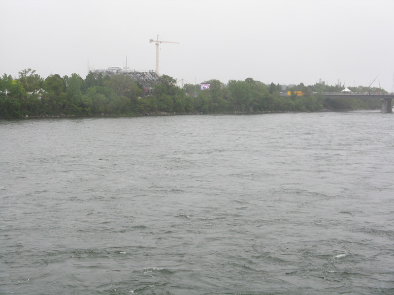Crossing the St. Lawrence river to the Circuit Gilles Villeneuve.