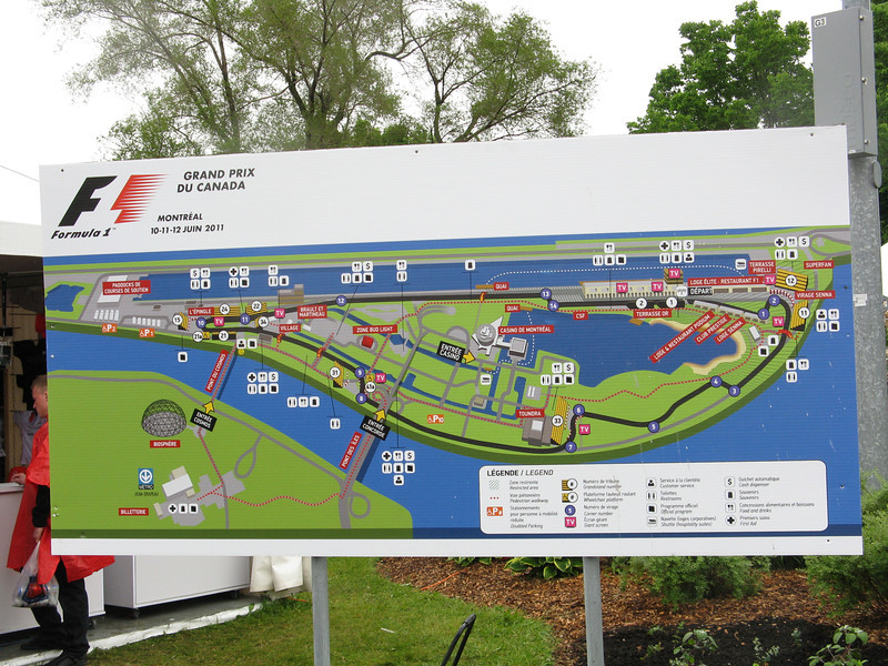 Track map. I crossed the bridge on the left by the dome and headed over to the hairpin turn.