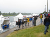 Food and beverage vendors lined up along the rowing basin.