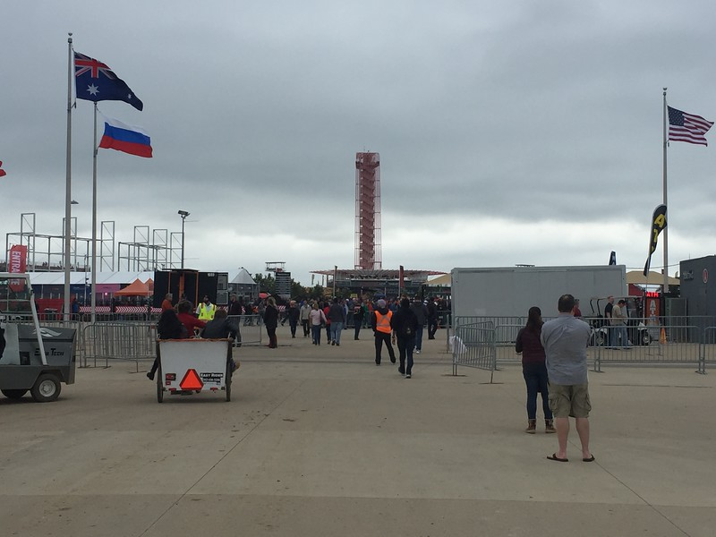 There was a bit of a hike from the shuttle bus area to the circuit entrance. There were dozens of crazy pedicab drivers you could hire to get you from the parking lots up to the track. Very windy all day. It was cold, but no rain!