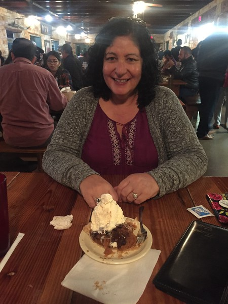 Dinner at the Salt Lick BBQ and this chocolate pecan pie a la mode.