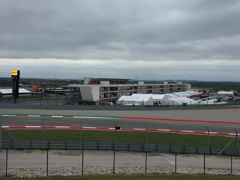 We ended up sitting for FP3 just after Turn 1. This is the back of the pit buildings.