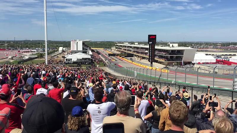 Race start. Kimi gets ahead of Lewis.