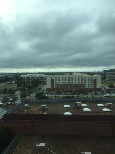 Saturday morning was cold, windy and cloudy. View from the concierge lounge at the Marriott where we got free breakfast.