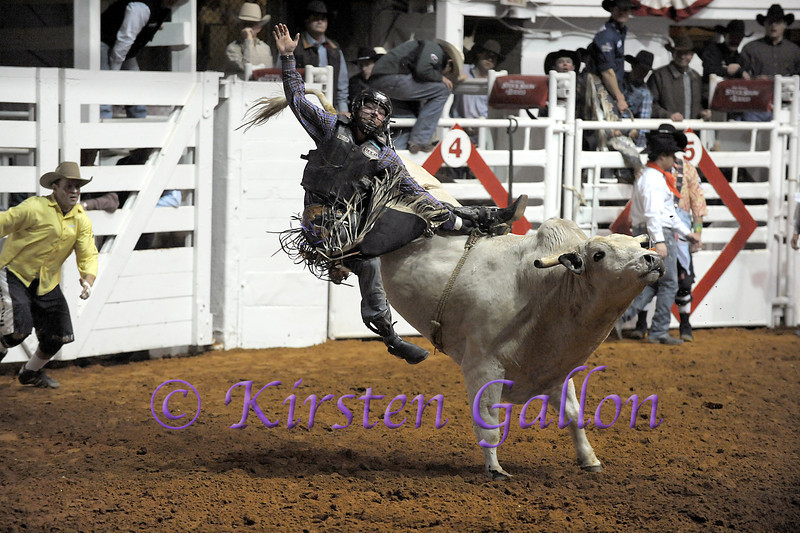 This bull rider is just about done with his ride.