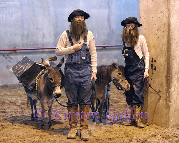 COLE LEHRMANN AND CLAYTON CROARKIN  with their miniature donkey and horse backstage before judging begins.  They won the kid's costume division.