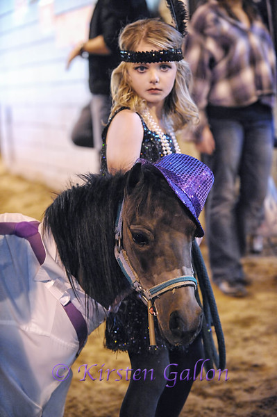 BROOKE LEHRMANN with her miniature horse entry in the kids costume contest.