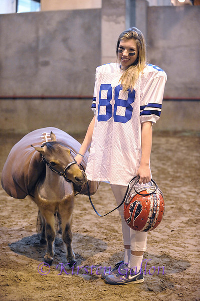 HEATHER BOLTON enters the kids costume division as a BUFFALO BILLS football player and one of her miniature horses as a football.
