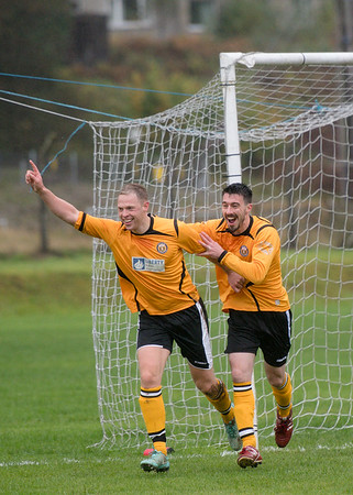 Action. Forts captain Darren Quigg celebrates scoring the opening goal of the match with team mate Scott Hunter