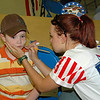 Face painting designs were also patriotic.