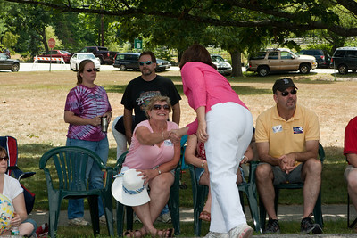 Annie talks to constituents.