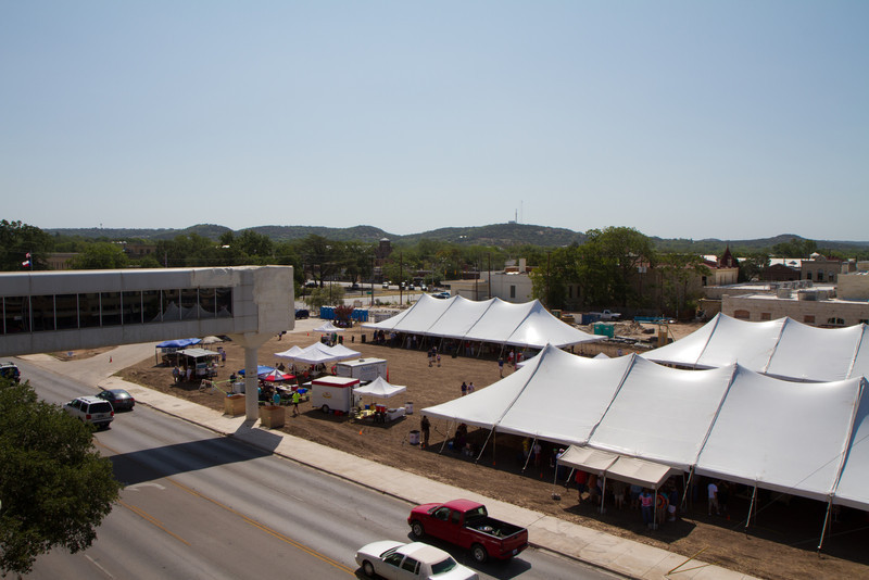 Future site of Kerrville's City Hall and clock tower as seen from the parking garage on July 4, 2011.