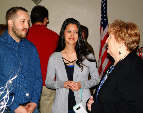 Debbie Blank | The Herald-Tribune<br /> Brookville Town Board member Curtis Ward (from left) and wife Catrina visit with BTB member Cathy Pelsor.