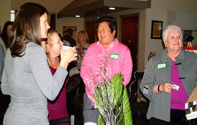 Debbie Blank | The Herald-Tribune Andi White (from left) of White's Farm chats with Kelly Graff and Elaine Laux of E.K. Loft Properties.