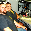 Debbie Blank | The Herald-Tribune<br /> An Indiana Department of Homeland Security Mobile Command trailer was placed at the county's transportation center at Franklin County Park's entrance. Franklin County Communications 911 dispatchers Matt Loeffler (left) and Myranda Jones used IDHS equipment to communicate with the involved agencies.