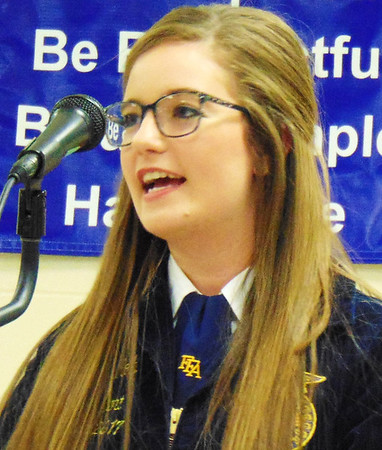 Debbie Blank | The Herald-Tribune<br /> Franklin County High School FFA President Shelby Kolb reported the organization obtained a $25,000 grant from Monsanto to construct a greenhouse for youth outreach.