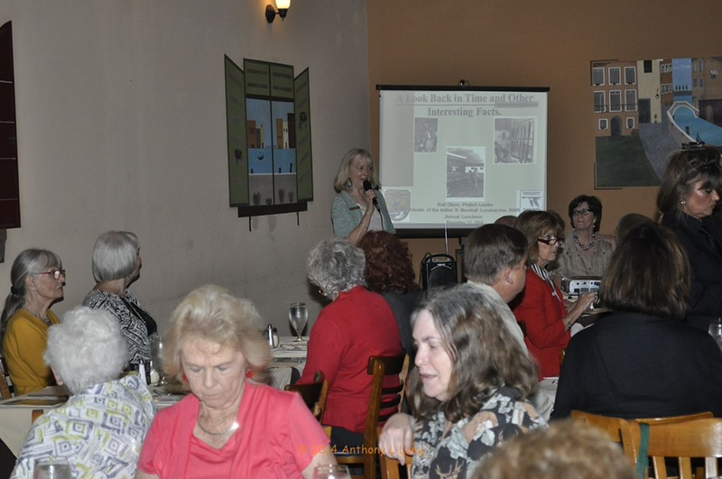 <b>Elinor Williams introduces our speakers</b> Saltimbocca Italian Bistro, November 12, 2014 <i>- Anthony Lang</i>