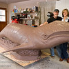 La Mesa, California; a clay sculpture of JJ, the gray whale, created by D. Lynn Reeves for the Friends of La Jolla Shores MAP Project at Kellogg Park, the actual animal named JJ was originally stranded on a beach in Marina Del Ray in January of 1997 and was nursed back to health at Sea World, San Diego until her release in March of 1998