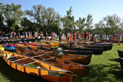 Kevar, aluminum, fiberglass, plastic, wood.  The boats of the Mississippi River Challenge run the gamut.