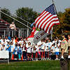Boy Scout Troop 301 presented the colors for the singing of the National Anthem at the beginning of the Friends of the Poor Walk.
