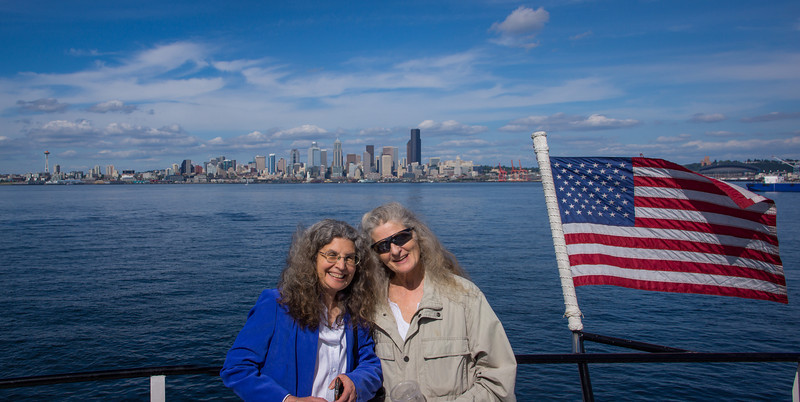 On the Seattle Water Taxi headed to the Alki side.