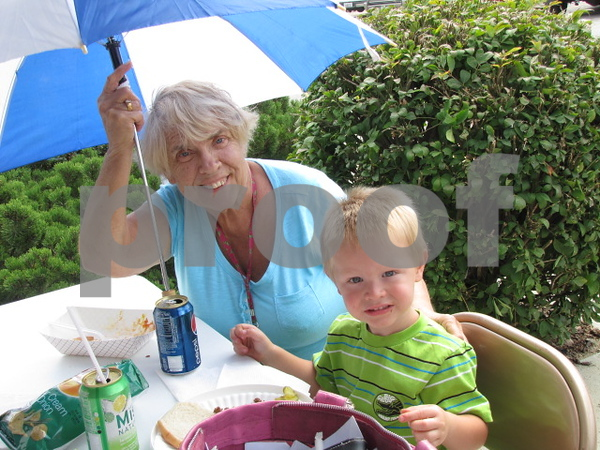 Shirley Echelberger and her grandson, Keaton Echelberger, attended the credit union's 50 year celebration.