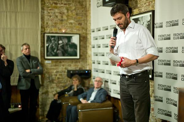 James Brabazon accepts the Frontline Memorial Tribute on behalf of photojournlist Chris Hondros, killed in Misrata in April 2011.