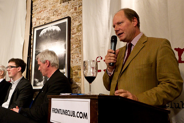 Vaughan Smith, founder of the Frontline Club, welcomes the audience and introduces the panel.