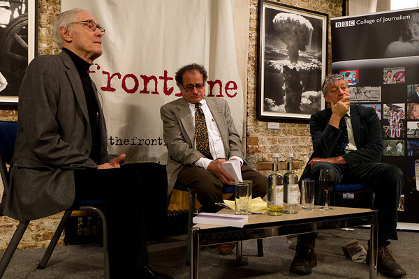 The panel. Tom Fenton, Mort Rosenblum and John Swain.