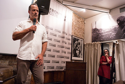 Sebastian Junger introduces the film, while Frontline's Wotinke Vermeer watches.