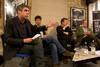 Richard Gizbert introduces the panel (Ian Katz, David Aaronovitch and Gavin MacFayden, Mark Stephens)