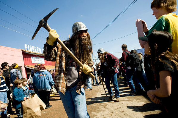 "Keith Reily, of Colorado Springs, lifts his ax  towards the crowd for the parade during Frozen Dead Guy Days in Nederland, Saturday, March 6, 2010.  <br /> <br /> For a video of the event, please visit  <a href=""http://www.dailycamera.com"">http://www.dailycamera.com</a><br /> <br /> KASIA BROUSSALIAN"