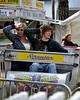 Jessica Wilkins, of Sanford, Maine, and Ethan Cox, of Kennebuck, Maine, enjoy opening day at the Fryeburg Fair and its many amusement rides, like the Scrambler. The Fair runs from Oct 4th thru Oct. 11th.