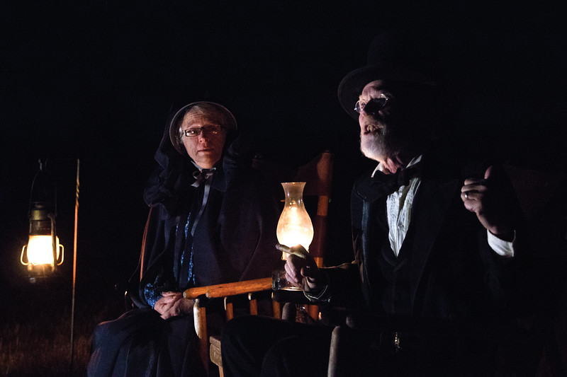 Matthew Gaston | The Sheridan Press<br>Colonel Henry Carrington and his wife, Francis Grummond Carrington, played by Robert Kelleher and Susan Grant respectively regale the crowd with their history at Fort Phil Kearny Saturday, Oct. 20, 2018.