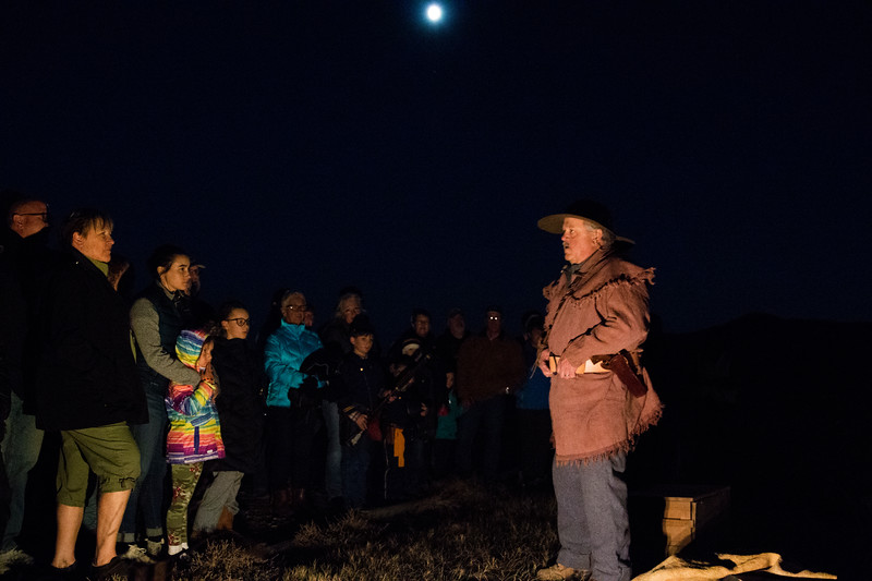 Matthew Gaston | The Sheridan Press<br>Jim Stratton as Jim Bridger greeted people as they entered Fort Phil Kearny for Full Moon Fort and gave them a breif history about how and why the fort was built and hinted at the gruesome tales to come Saturday, Oct. 20, 2018.