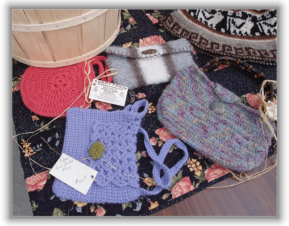 small purses made from alpaca wool