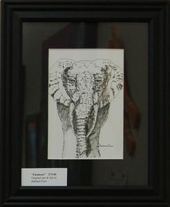 Elephant<br /> 10 x 8 Framed Pen and Ink<br /> Barbara Prior<br /> $75