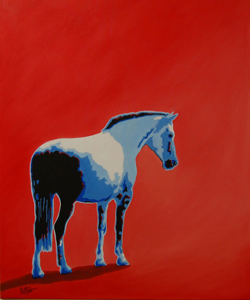 Blue Horse on Red<br /> 30 x 24 Oil on Canvas<br /> Henry Patton<br /> $1,600