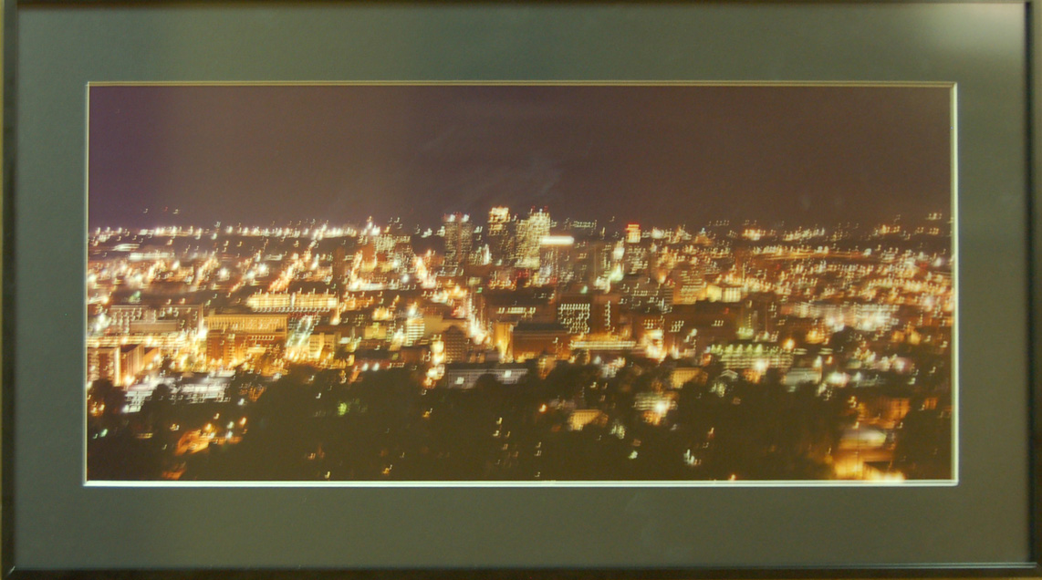 Birmingham at Night<br /> 17 x 34 Framed Panoramic Photograph<br /> Joe Keiser<br /> $125