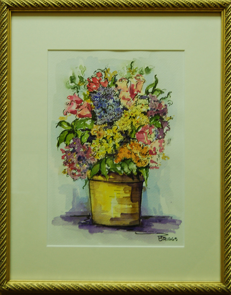 Pot of Flowers<br /> 12 x 15 Framed Watercolor, Pen, and Ink<br /> Lynn Briggs<br /> $90