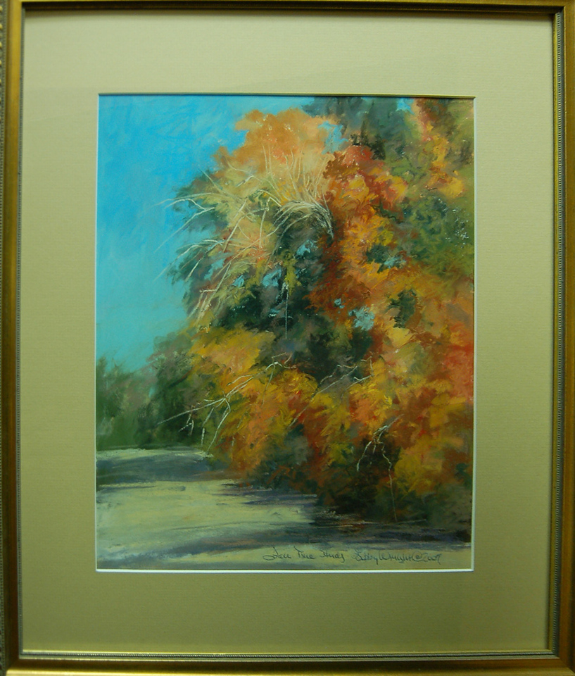 Fall Tree Study<br /> 18 x 20 Framed Pastel<br /> Libby Wright <br /> $175