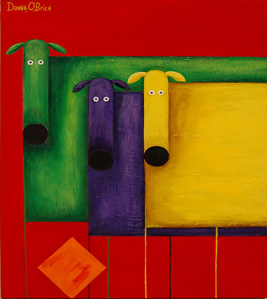 Trois Chien Jouant<br /> Acrylic on Canvas<br /> Donna O'Brien<br /> $800