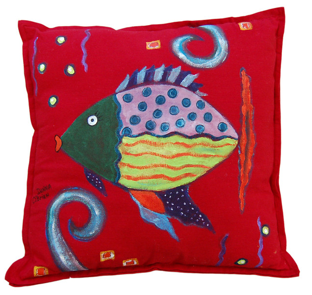 Ocean View II<br /> Hand Painted Pillow<br /> Donna O'Brien<br /> $85