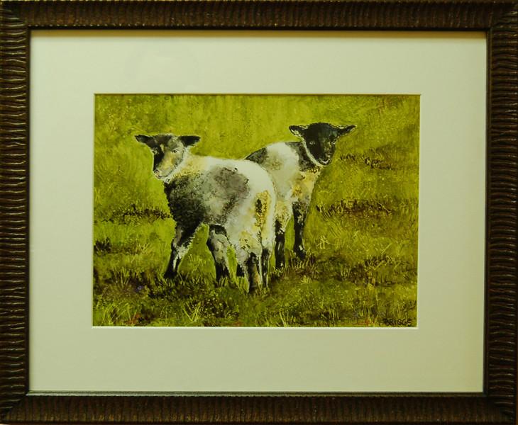 Lambs<br /> 20 x 18 Framed Watercolor on Canvas<br /> Lynn Briggs<br /> $220