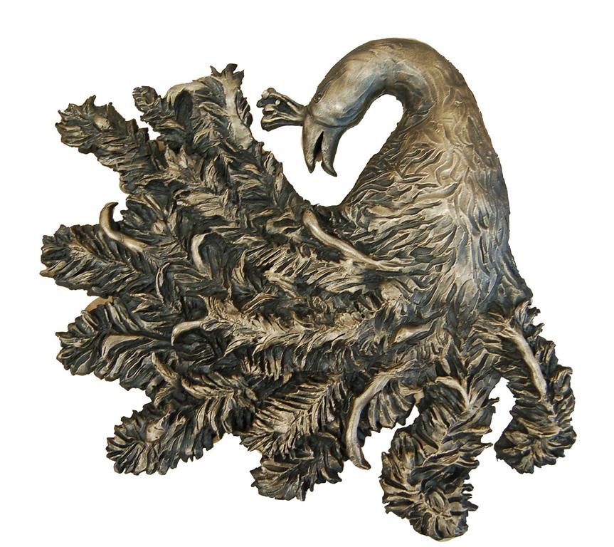 Aesop's Peacock<br /> 24 x 18 Cast Bronze<br /> Emily Hobbs <br /> $450