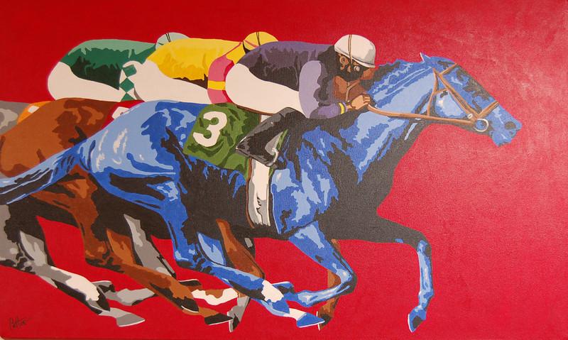 Blue Horse Beats Dark Horse<br /> 24 x 36 Acrylic on Canvas<br /> Henry Patton<br /> $1,800