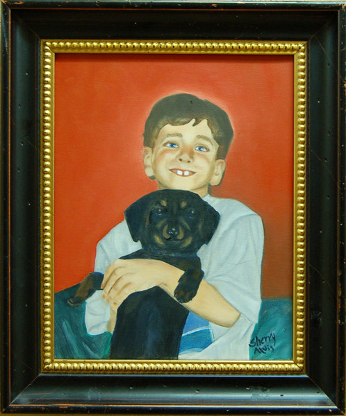 Joseph and Hershey<br /> Framed Oil on Canvas<br /> Sherry Alvis<br /> $250