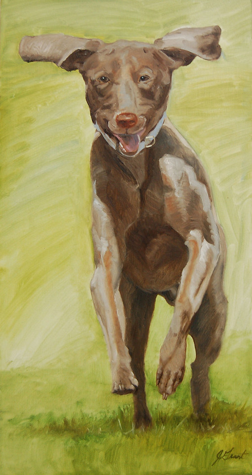 On the Run<br /> 15 x 30 Oil on Canvas<br /> Jan Grant<br /> $450