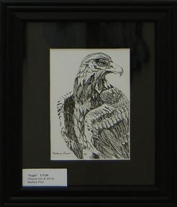 Eagle<br /> 10 x 8 Framed Pen and Ink<br /> Barbara Prior<br /> $75