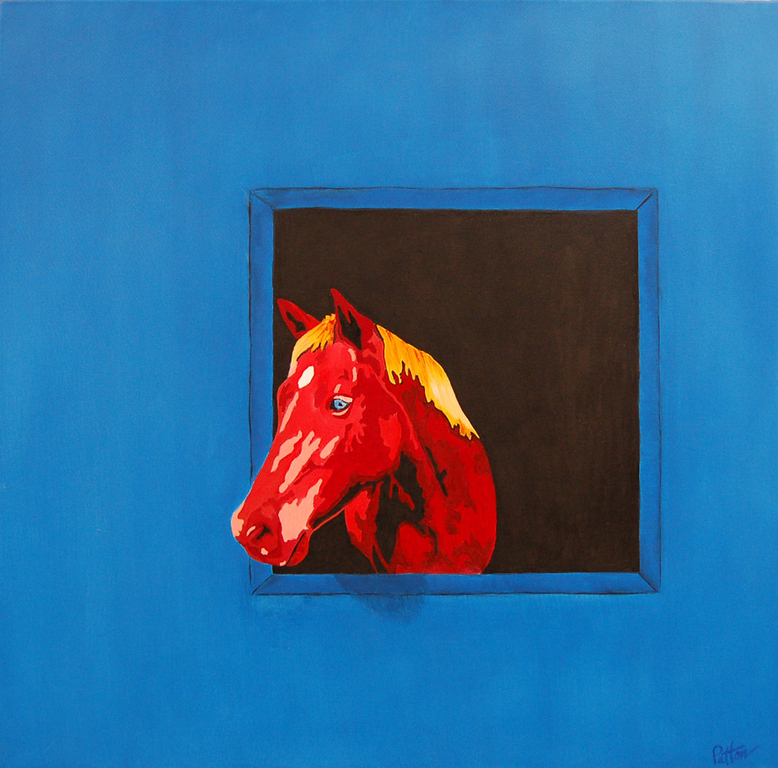 Blue Eyed Horse<br /> 30 x 30 Oil on Canvas<br /> Henry Patton<br /> $1,600